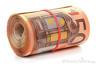 Roll of fifty euro banknotes.