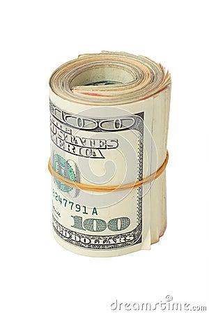 Roll of hundred dollars
