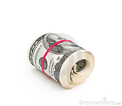 Roll of hundred dollars