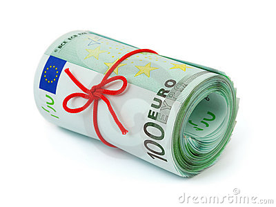Roll of money and bow