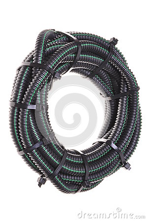 Free Roll Of Corrugated Pipe For Electrical Cables Royalty Free Stock Photography - 28574027