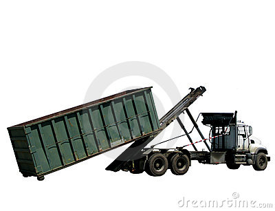 Roll Off Refuse Trash Container and Garbage Truck