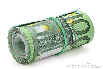 Roll of one hundred euro banknotes.