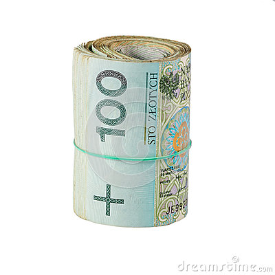 Roll of one hundred polish zloty