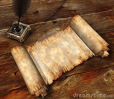 Roll of parchment on wooden table 3D still-life