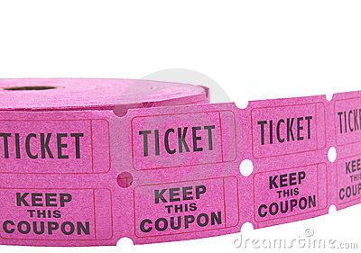 Roll Of Raffle Tickets On White Royalty Free Stock