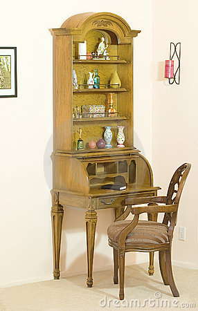Roll top desk with hutch open