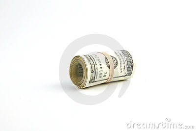 A roll of United States hundred dollar bills