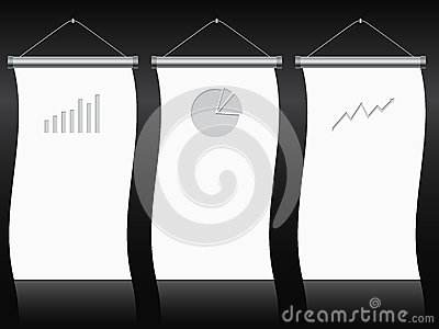 Roll up banner set with charts and diagrams