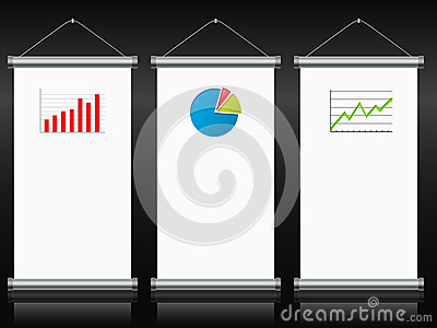 Roll up banners with charts and diagrams