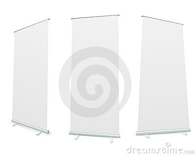 Roll-up blank white display