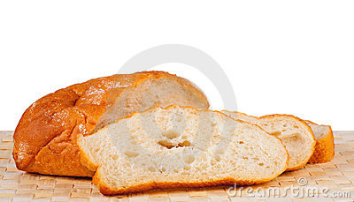 Roll Of White White Bread And Three Cut Off Chunks Royalty Free Stock ...