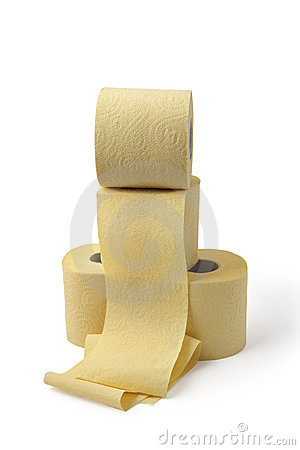 Roll of yellow toilet paper