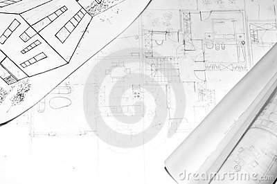 Rolled architecture plans on a drawing od house