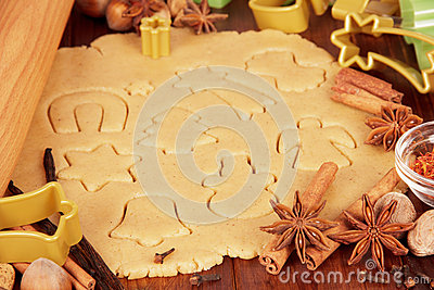 Rolled dough with embossed figures ginger cookies