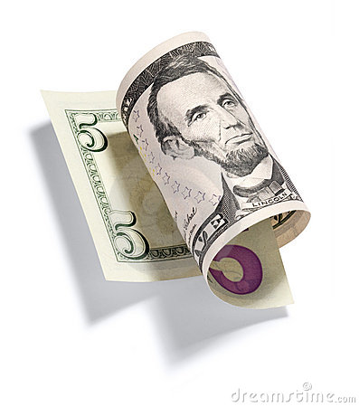 Free Rolled Five Dollar Bill Stock Photo - 10506730