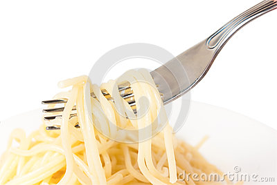 Rolled on a fork spaghetti