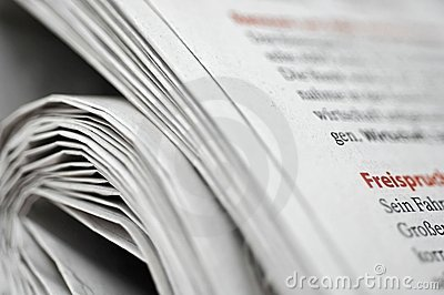 Rolled German newspaper