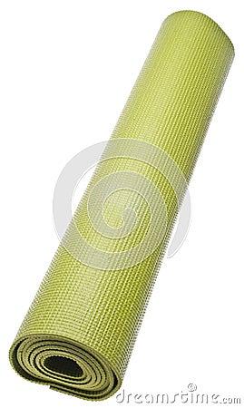 Rolled Green Yoga Mat