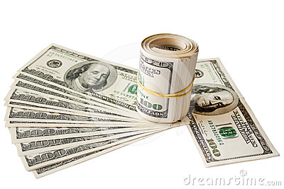 Rolled money cutout on a background dollars