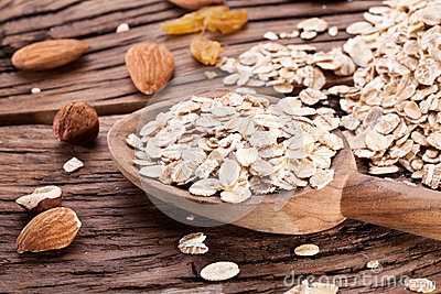 Rolled oats and nuts. Stock Photo