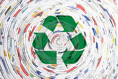 Rolled paper spiral, recycling concept
