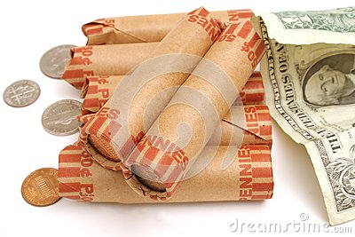 Rolled pennies & $1 bill