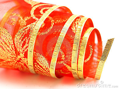 Rolled red gift ribbon