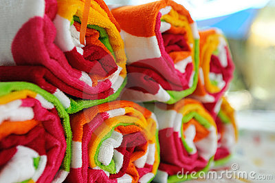 Rolled Up Beach Towels
