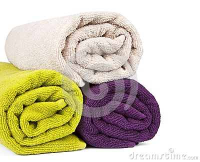 Rolled up colorful towels