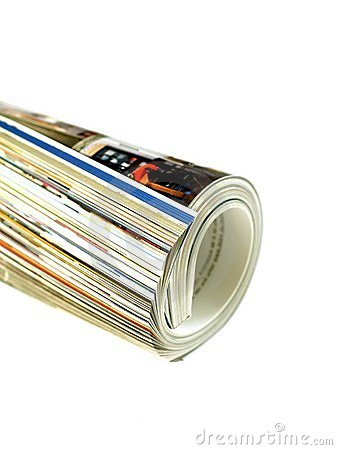 Free Rolled Up Magazine On White Stock Images - 11471194