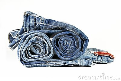 Rolled washed-out blue jeans