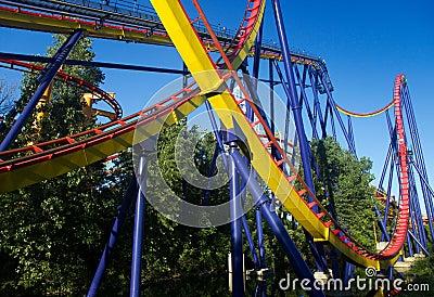 Roller coaster in amusement park