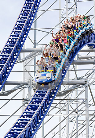 Roller coaster in amusement park Editorial Photography
