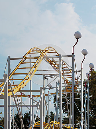 Roller coaster in an amusement park