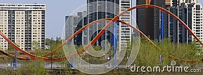 Roller coaster & buildings