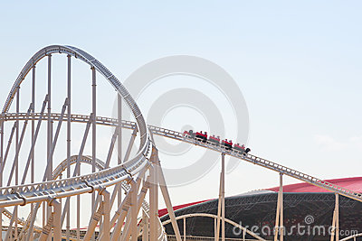 Roller coaster at Ferrari World in Abu Dhabi Editorial Photo