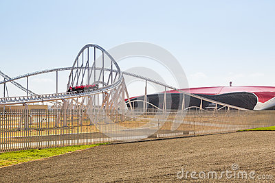 Roller coaster at Ferrari World in Abu Dhabi Editorial Stock Photo