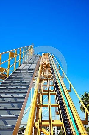 Roller coaster initial ramp with clear sky