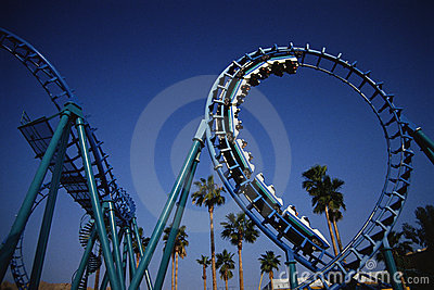 Roller coaster at Knott s Berry Farm, CA Editorial Photography