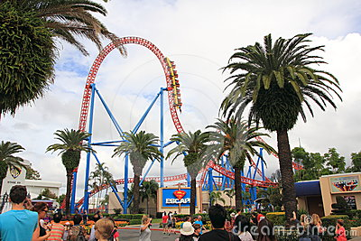 Roller coaster ride Superman Escape in Theme Park Editorial Photo