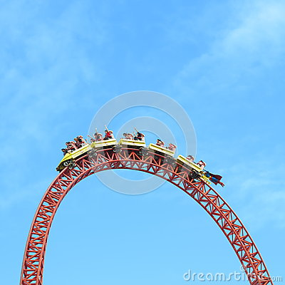 Roller coaster ride Superman Escape on top head Editorial Photography
