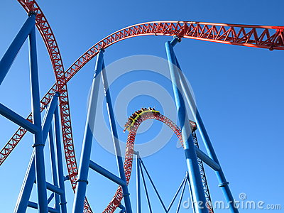 Roller coaster ride tracks with train Editorial Photography