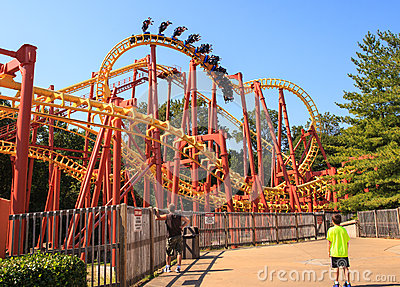Roller Coaster Six Flags Amusement Park Editorial Stock Photo