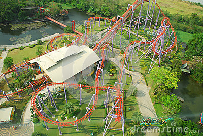 Roller coster on top view Stock Photo