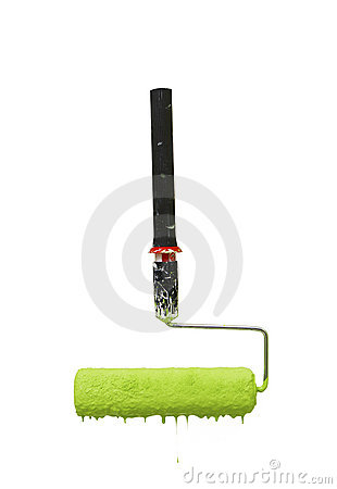 Roller with green dripping paint
