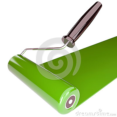Roller with a green paint