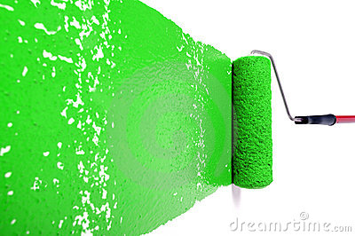 Roller With Green Paint on White Wall