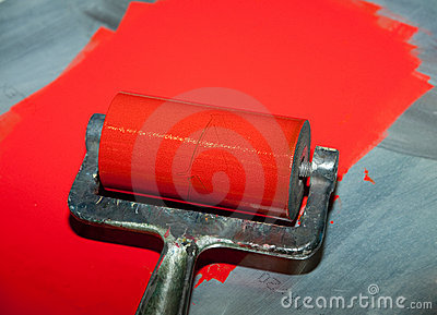 Roller printing with red ink