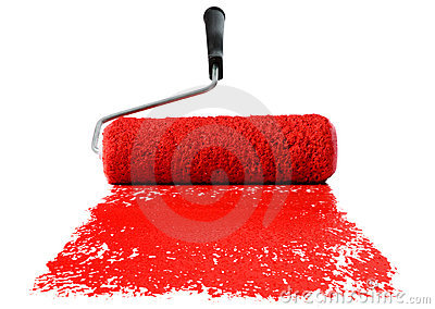 Roller With Red Paint